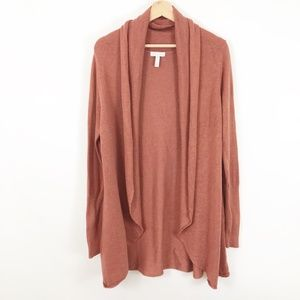 LEITH Open Front Cardigan Sweater Rust w/ Pockets